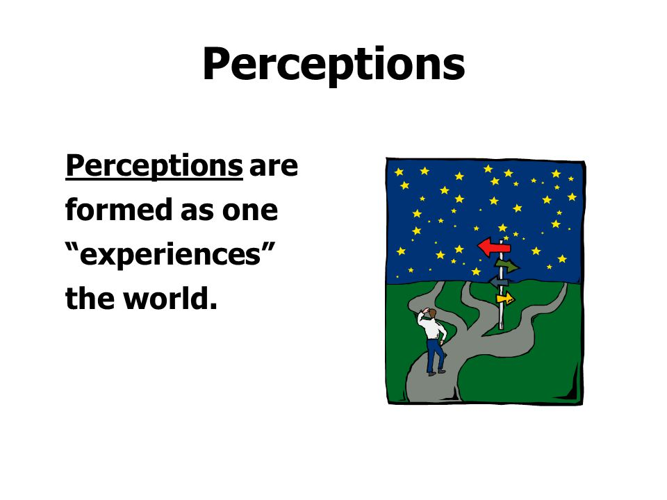 Perceptions Perceptions are formed as one experiences the world.