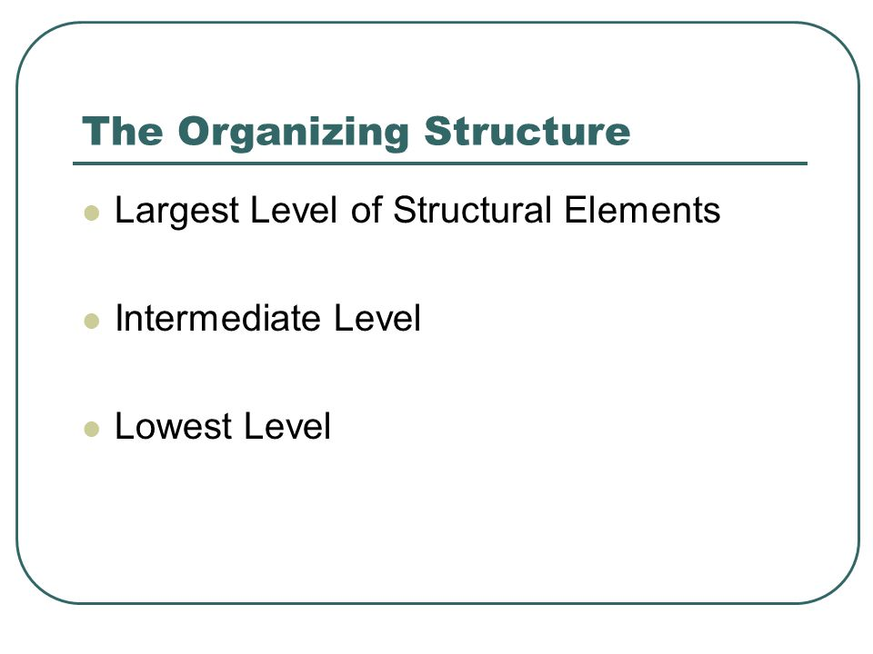 The Organizing Structure