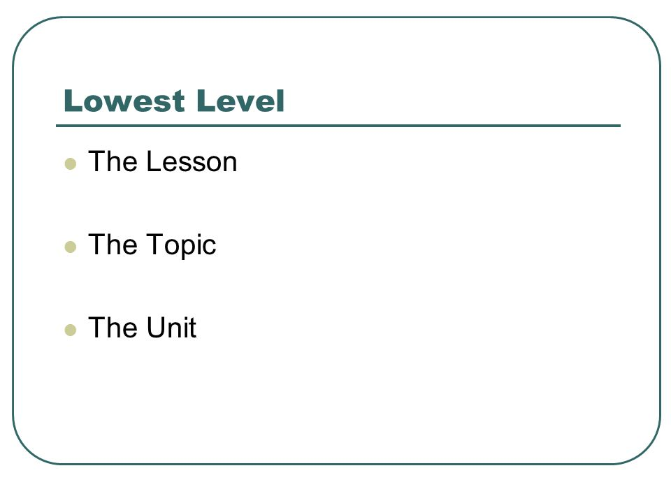 Lowest Level The Lesson The Topic The Unit