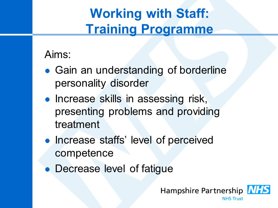 Working with Staff: Training Programme