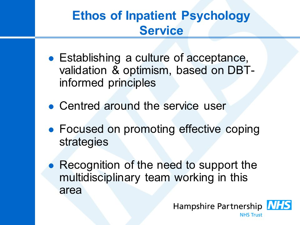 Ethos of Inpatient Psychology Service