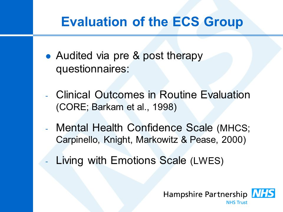 Evaluation of the ECS Group