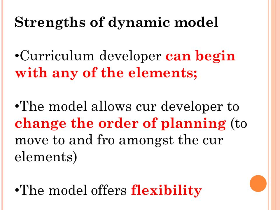 dynamic model of curriculum development