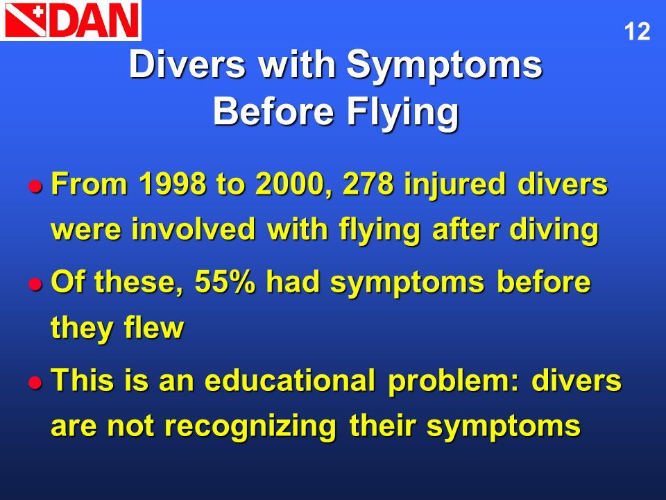 Divers with Symptoms Before Flying
