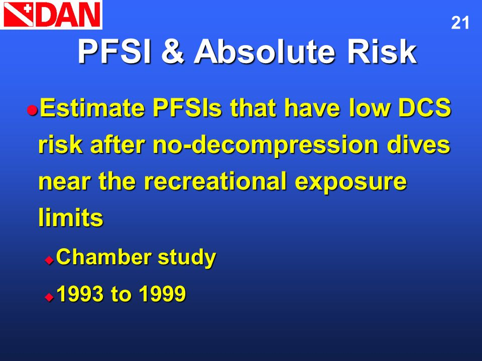 Flying After Diving November 2002. PFSI & Absolute Risk.