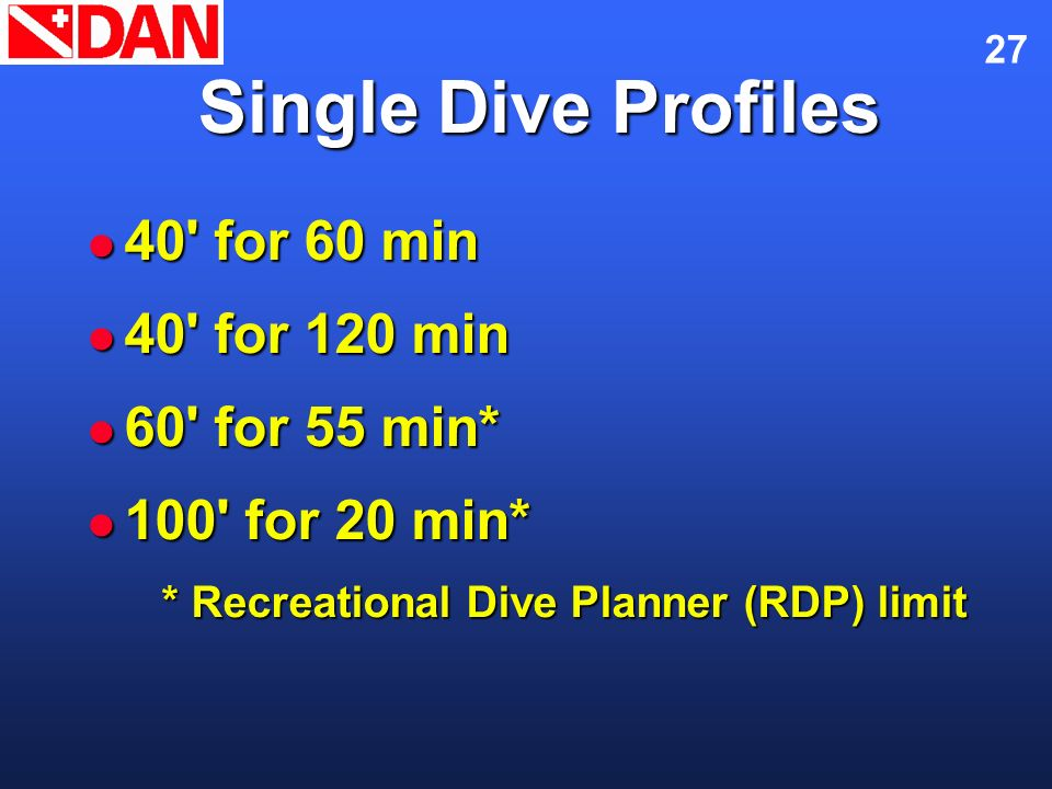 Single Dive Profiles 40 for 60 min 40 for 120 min 60 for 55 min*