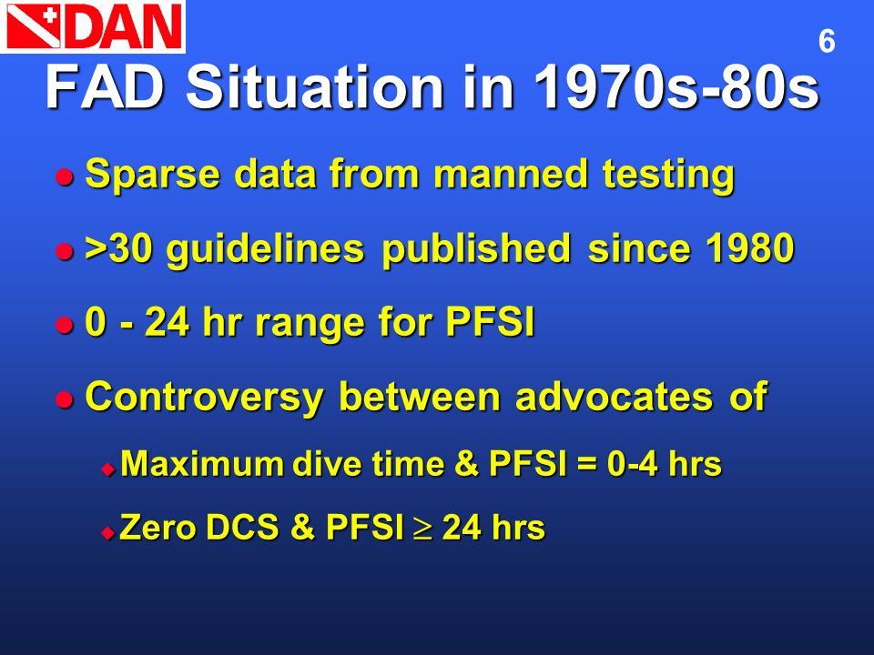 FAD Situation in 1970s-80s Sparse data from manned testing