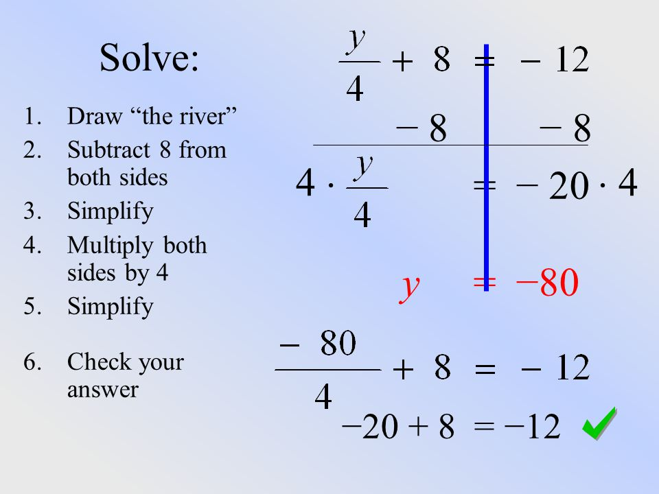 Solve: − 8 − 8 = − 20 4   4 y = −80 − = −12 Draw the river