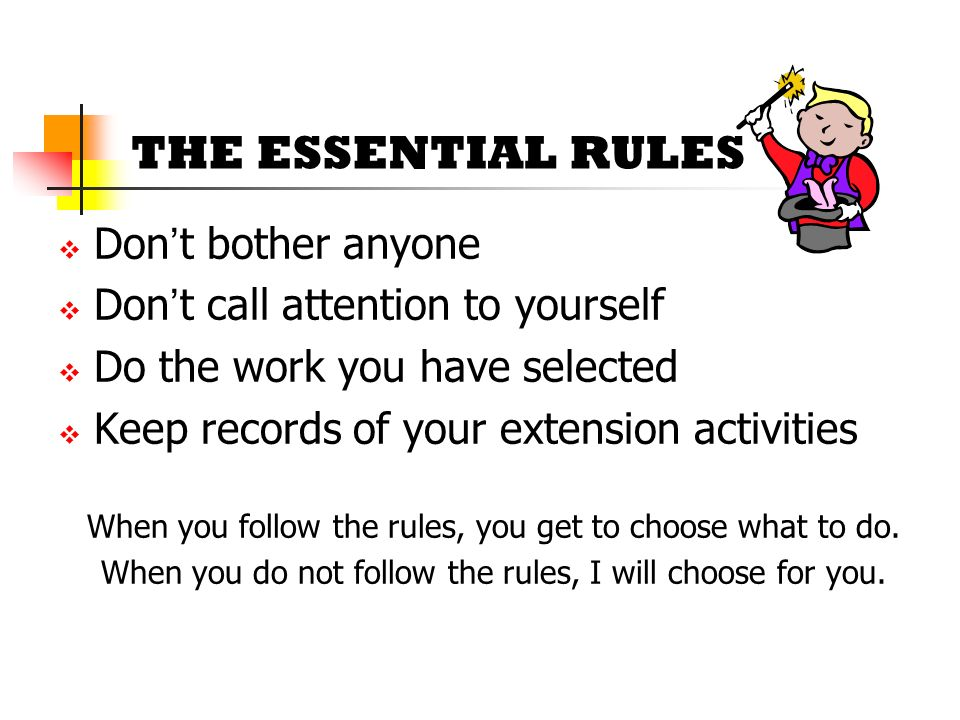 THE ESSENTIAL RULES Don't bother anyone