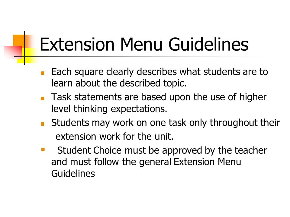 Extension Menu Guidelines
