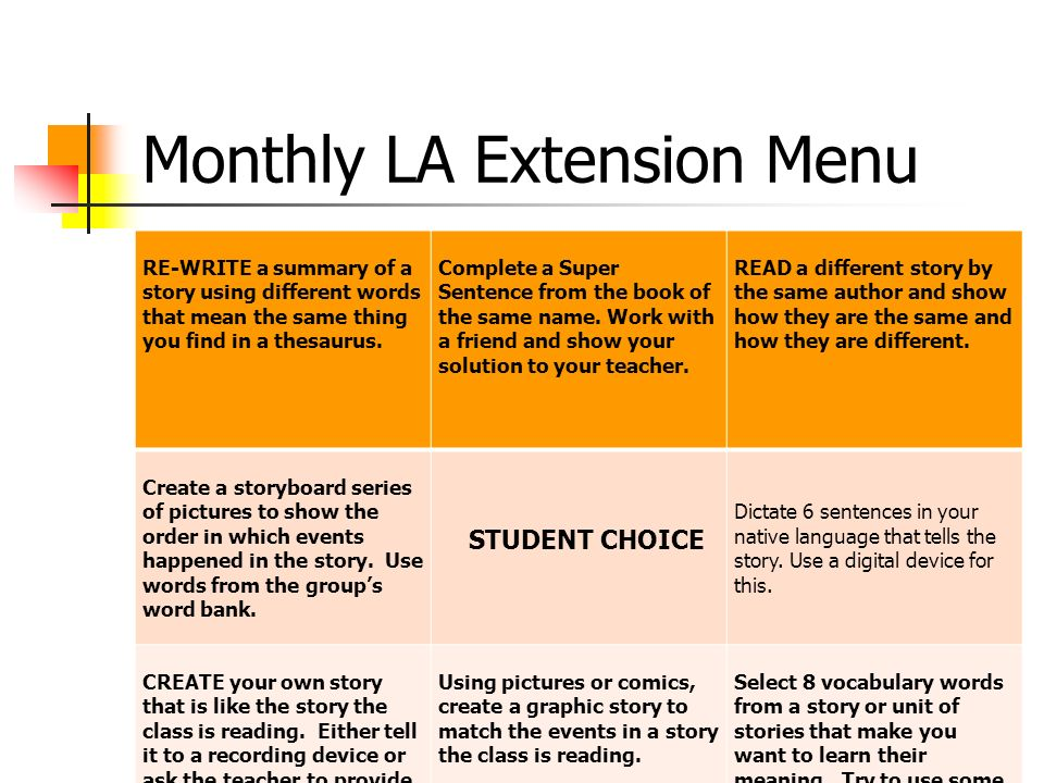 Monthly LA Extension Menu