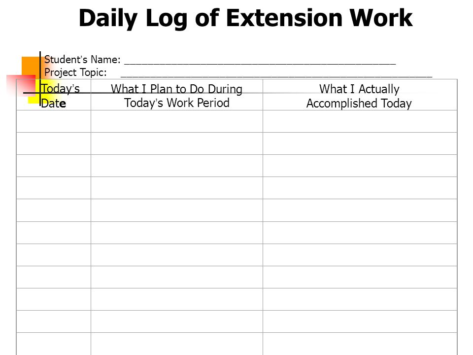 Daily Log of Extension Work