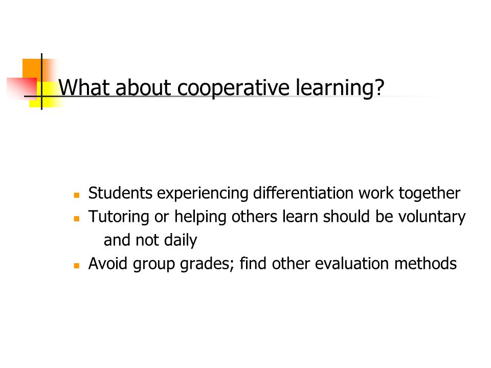 What about cooperative learning