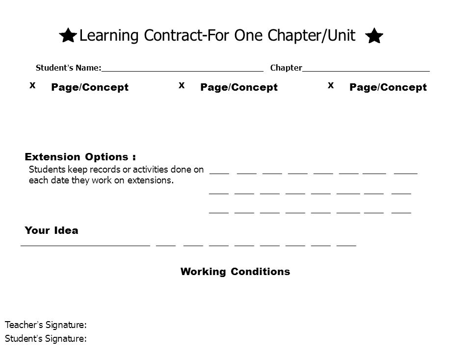 Learning Contract-For One Chapter/Unit