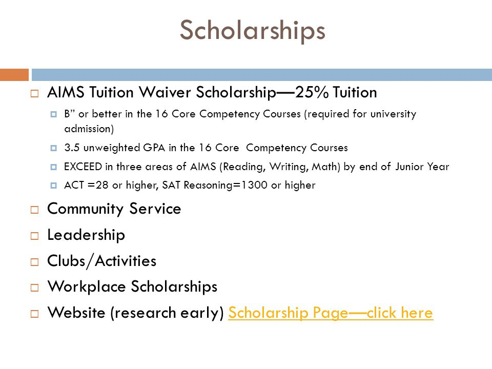Scholarships AIMS Tuition Waiver Scholarship—25% Tuition