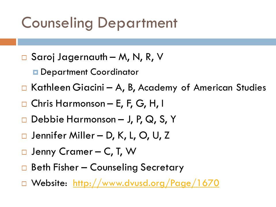 Counseling Department
