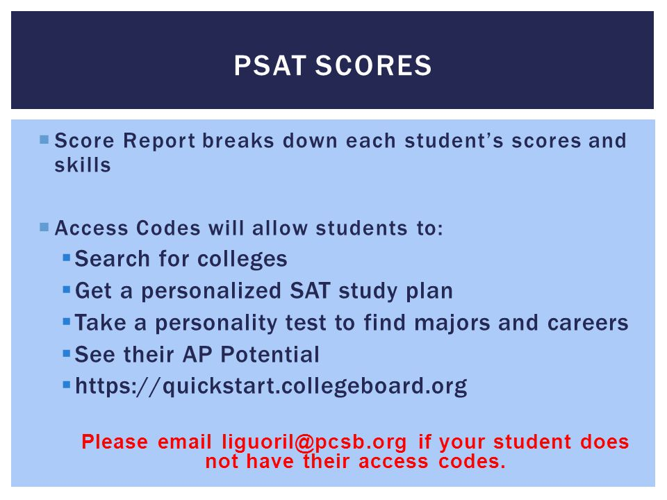 PSAT Scores Search for colleges Get a personalized SAT study plan