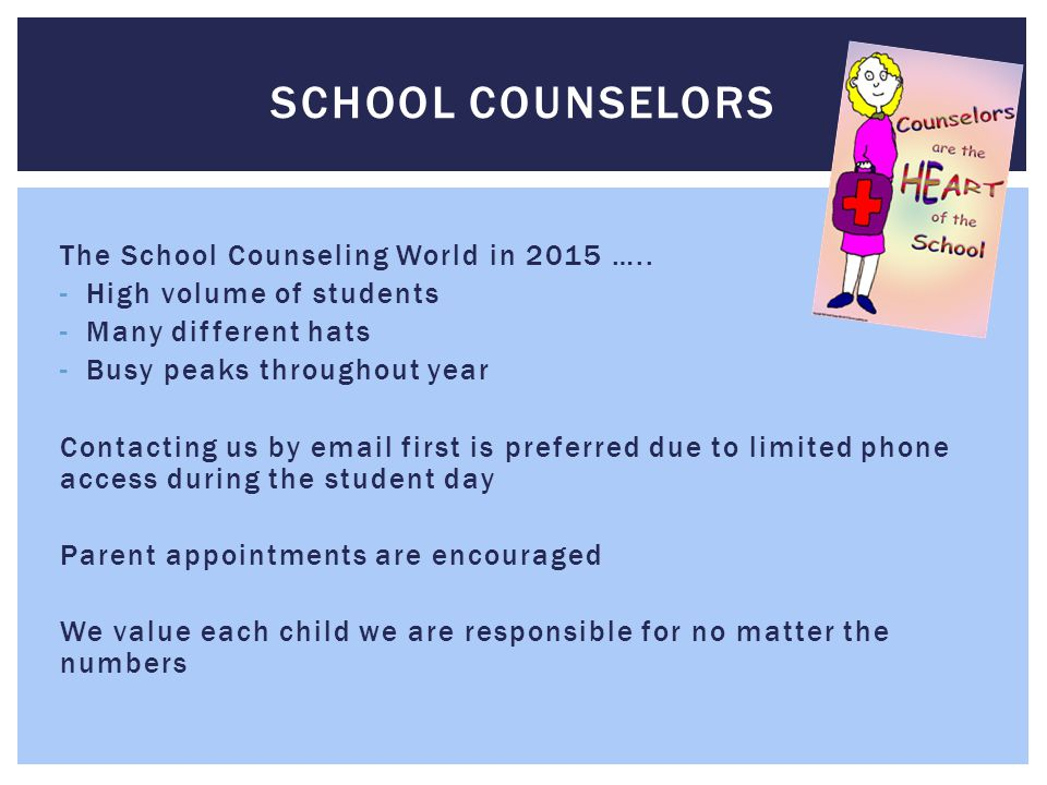 School Counselors The School Counseling World in 2015 …..