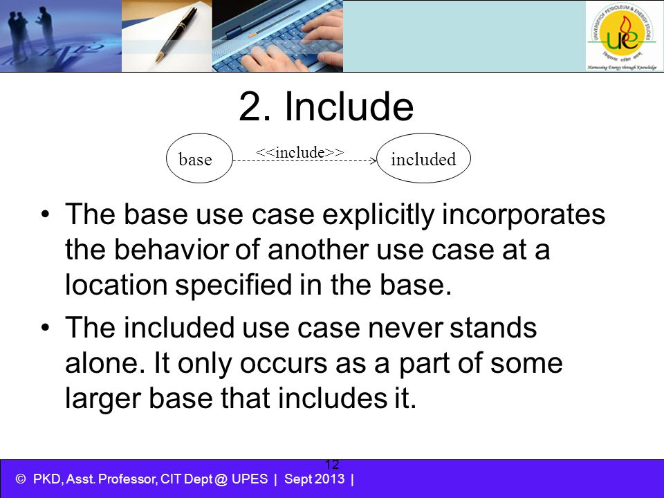 2. Include base. included. <<include>>