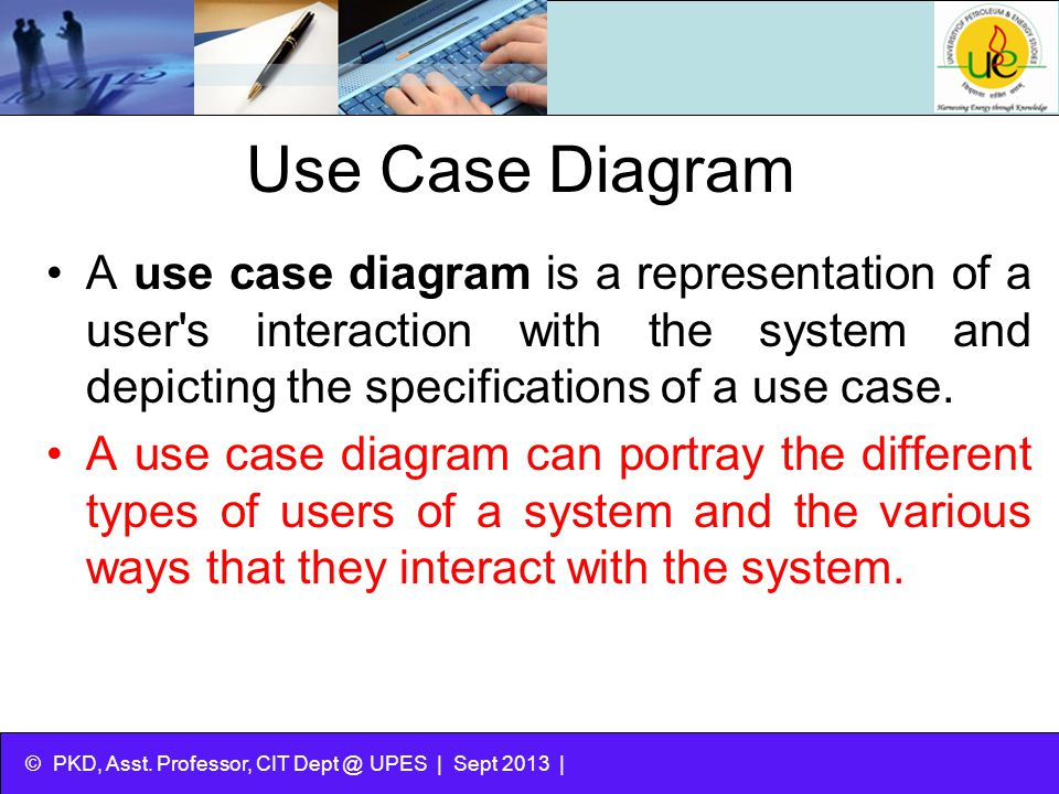 Use Case Diagram A use case diagram is a representation of a user s interaction with the system and depicting the specifications of a use case.