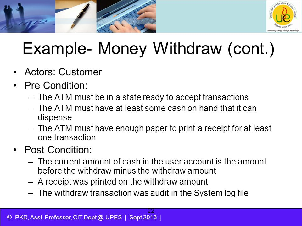 Example- Money Withdraw (cont.)