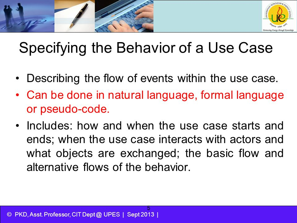 Specifying the Behavior of a Use Case