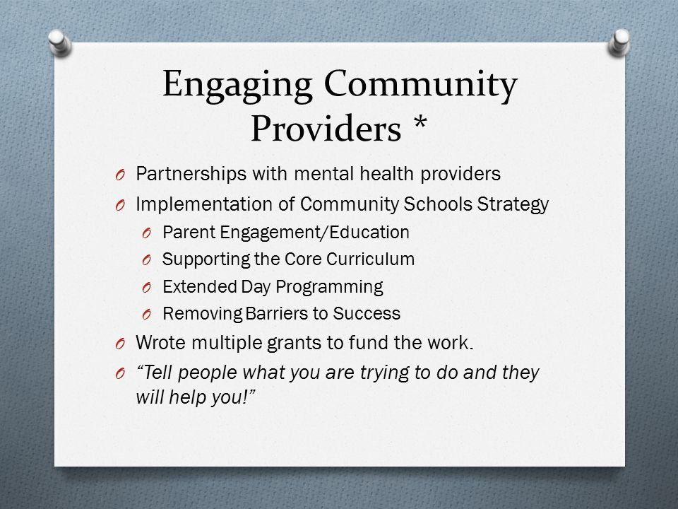Engaging Community Providers *