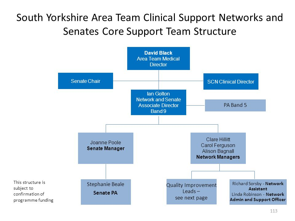 South Yorkshire Area Team Clinical Support Networks and Senates Core Support Team Structure