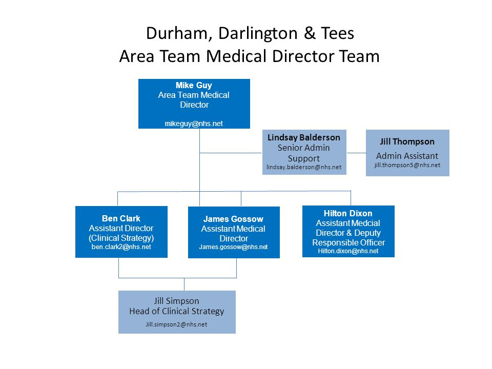 Durham, Darlington & Tees Area Team Medical Director Team