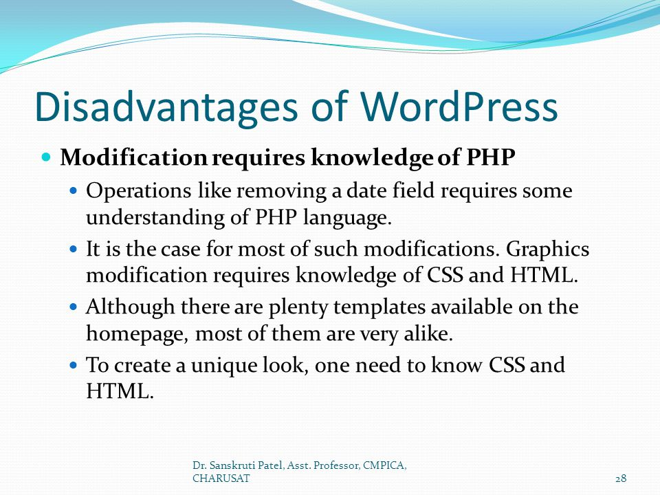 Disadvantages of WordPress