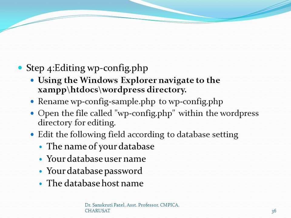 Step 4:Editing wp-config.php