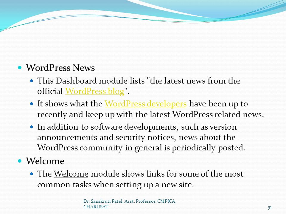 WordPress News Welcome