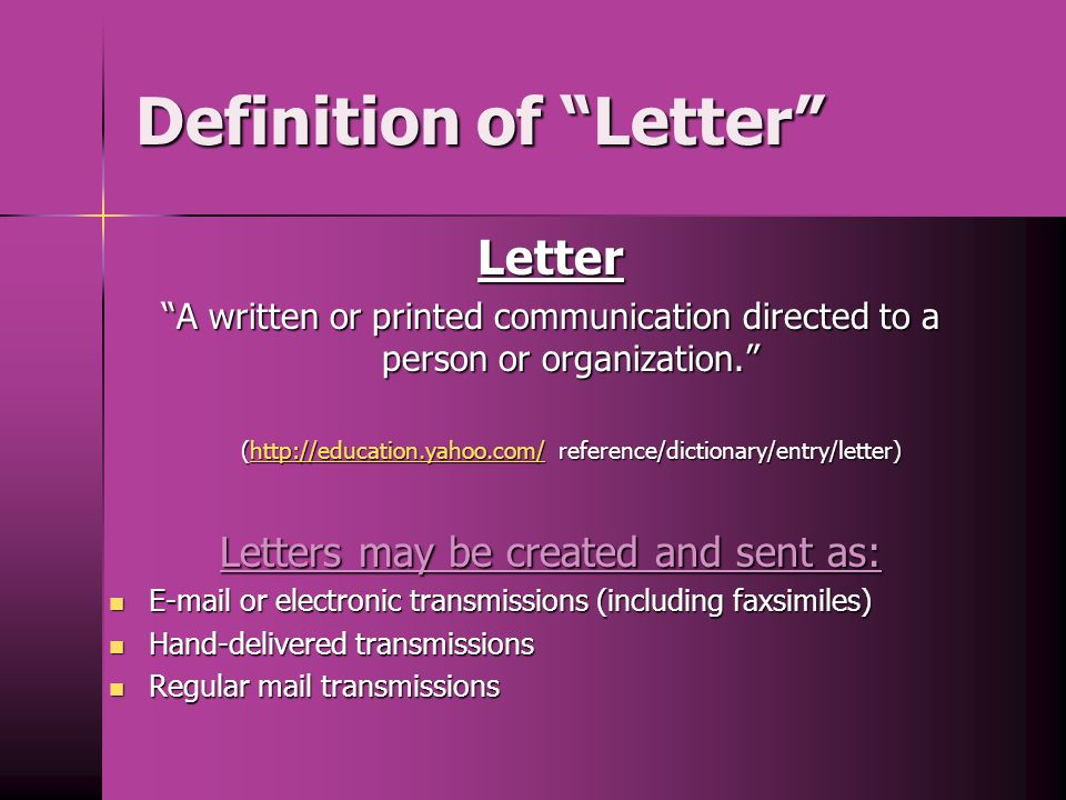 Definition of Letter