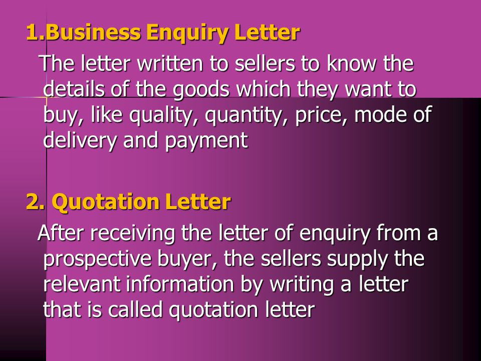 1.Business Enquiry Letter