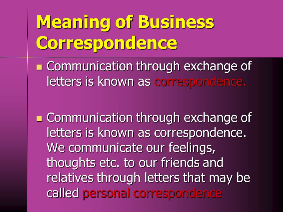 Meaning of Business Correspondence