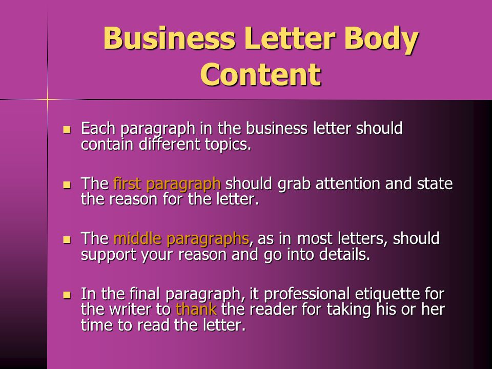 Business Letter Body Content