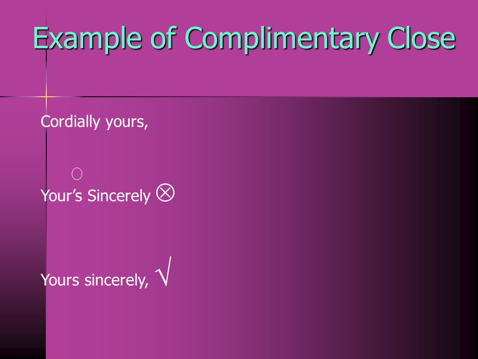 Example of Complimentary Close