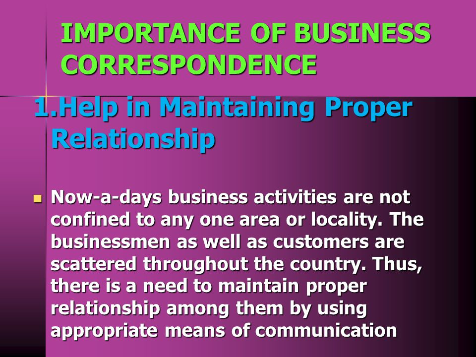 what is the importance of business correspondence