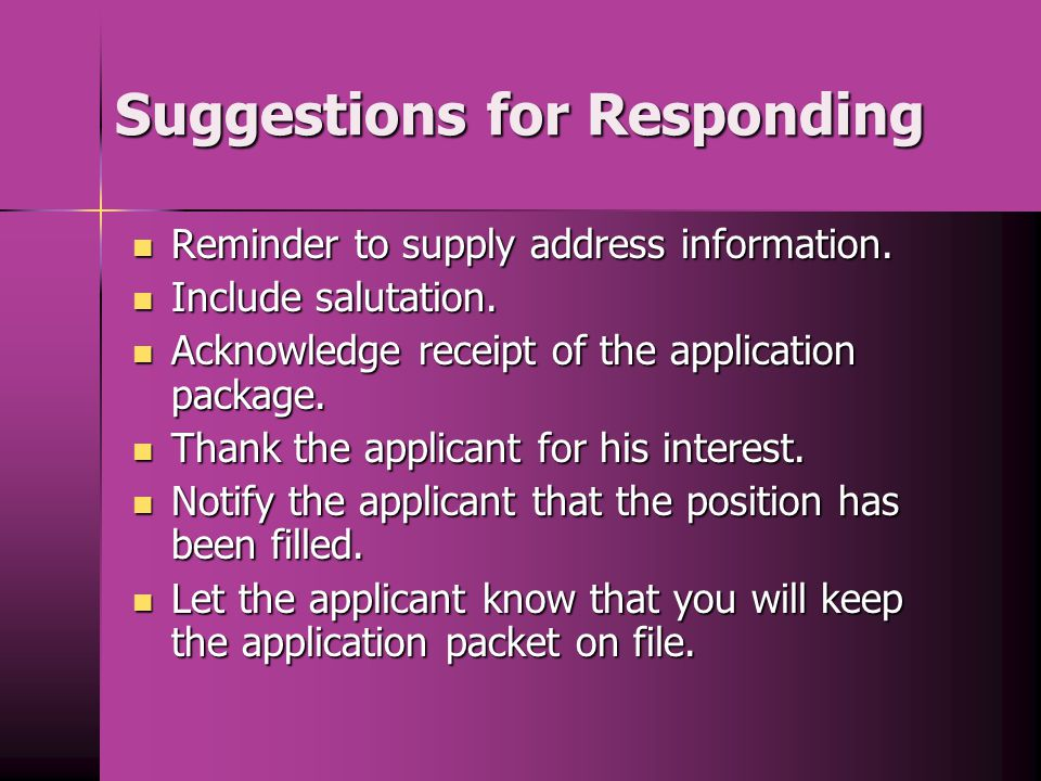 Suggestions for Responding