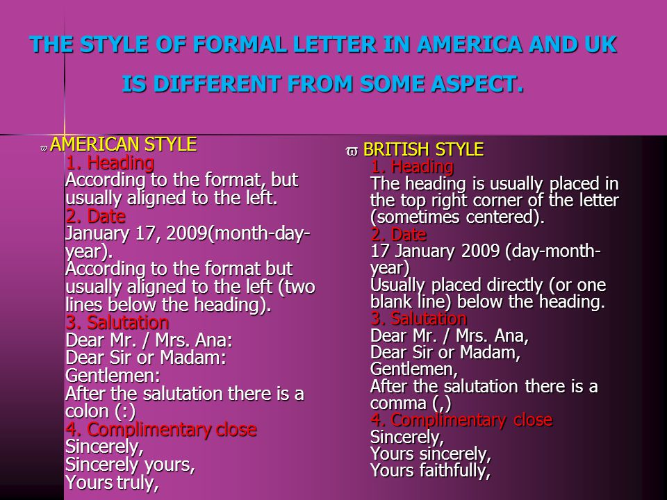 THE STYLE OF FORMAL LETTER IN AMERICA AND UK IS DIFFERENT FROM SOME ASPECT.