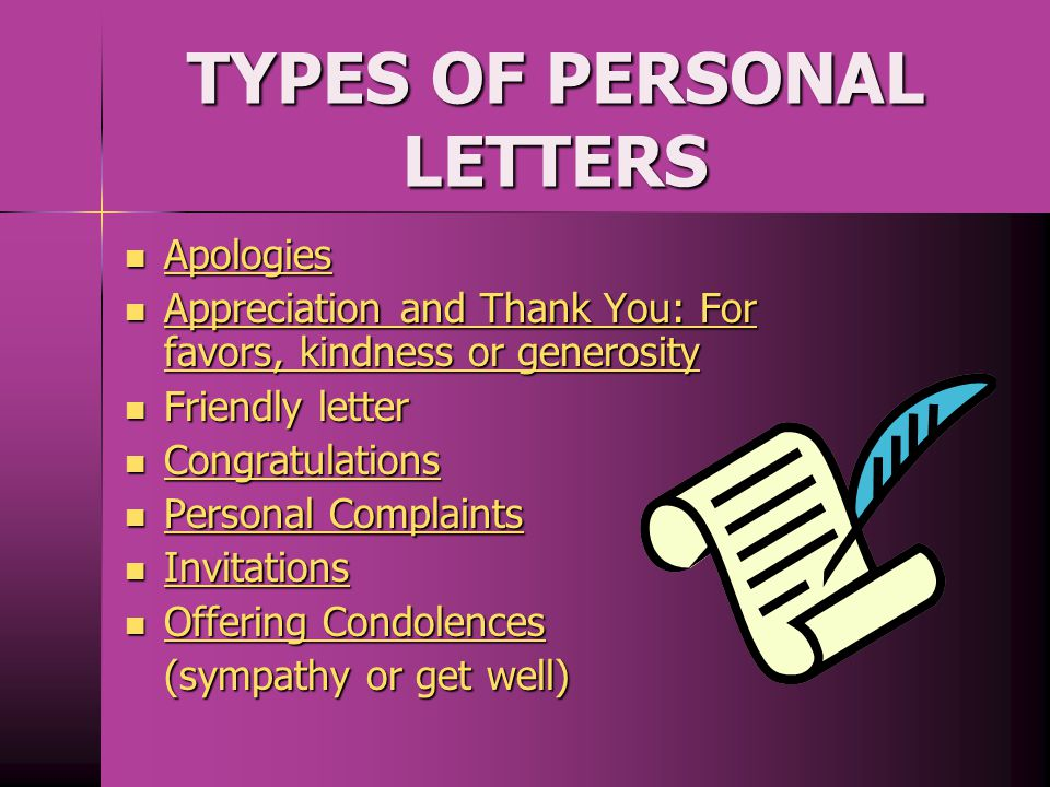 TYPES OF PERSONAL LETTERS