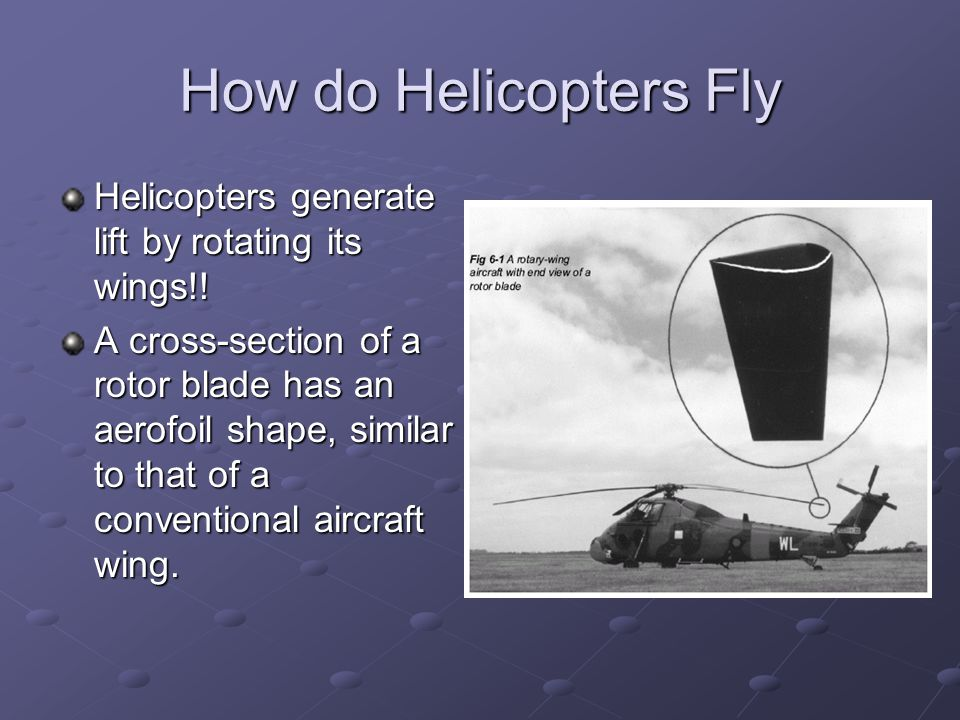How do Helicopters Fly Helicopters generate lift by rotating its wings!!