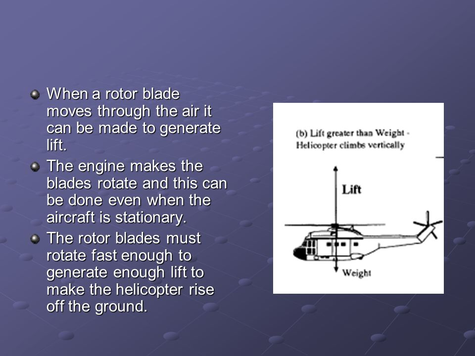 When a rotor blade moves through the air it can be made to generate lift.