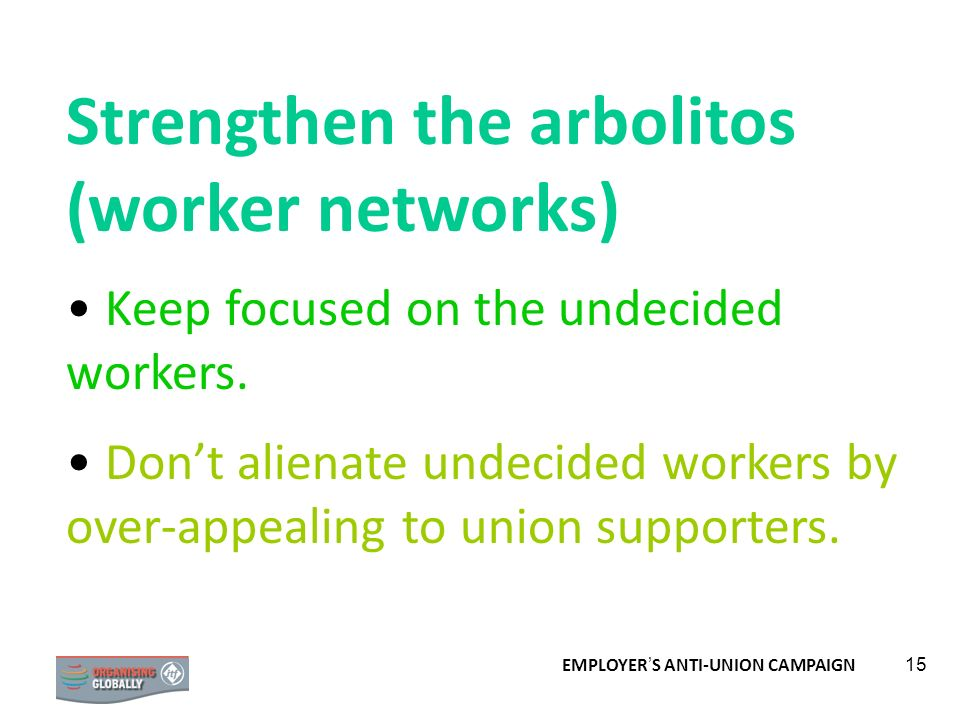 Strengthen the arbolitos (worker networks)