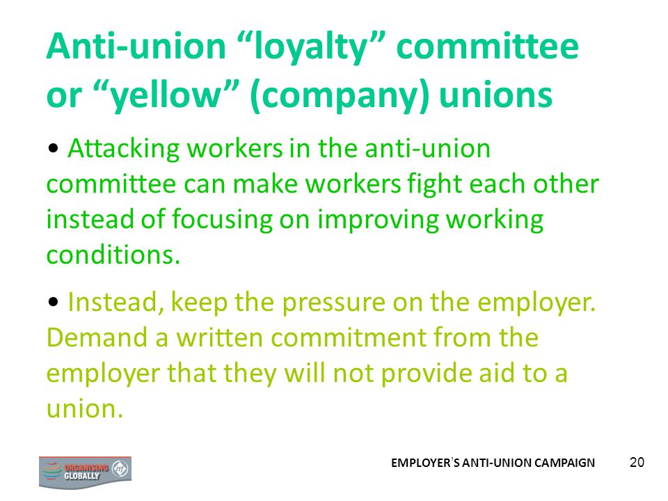 Anti-union loyalty committee or yellow (company) unions
