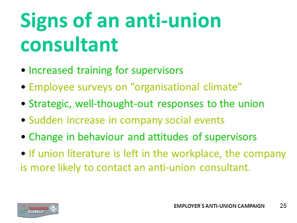 Signs of an anti-union consultant