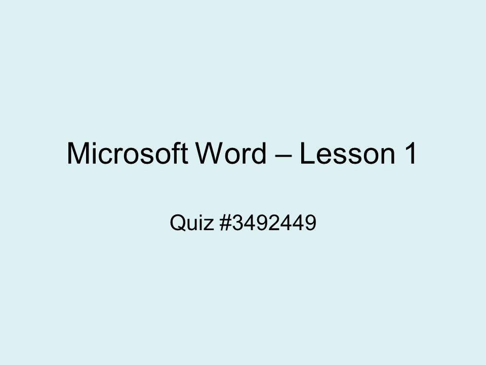 Microsoft Word – Lesson 1