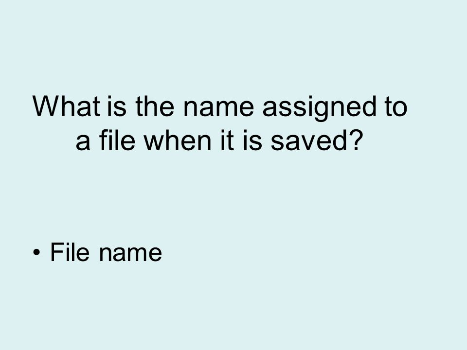 What is the name assigned to a file when it is saved