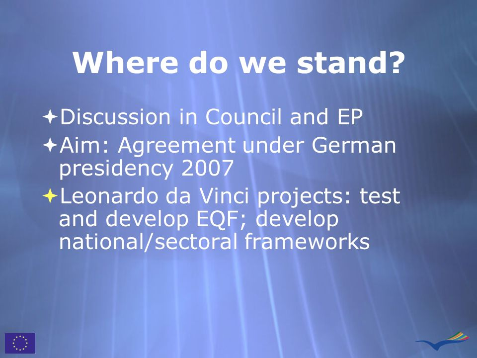 Where do we stand Discussion in Council and EP