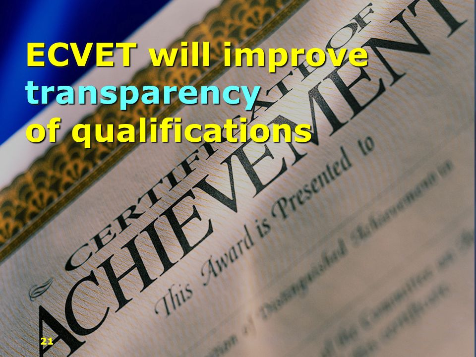 ECVET will improve transparency of qualifications